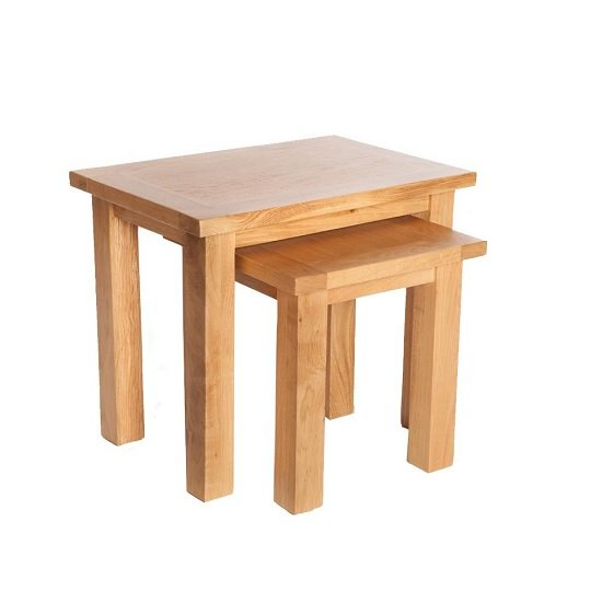 Lexington Wooden Nest Of Tables In Oak With 2 Tables