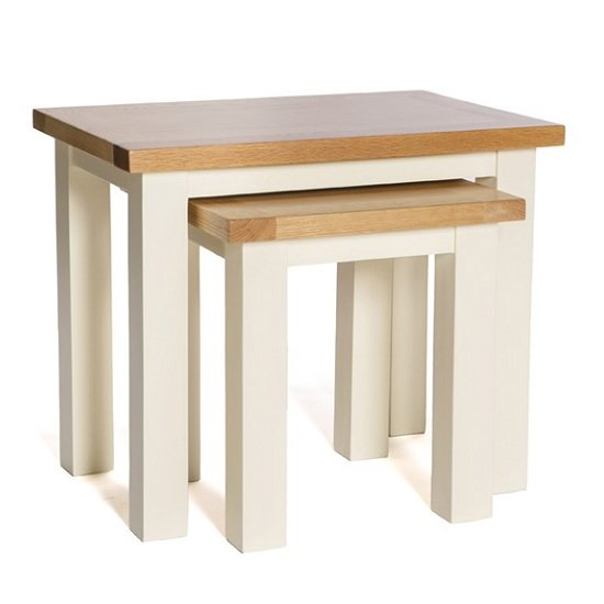 Lexington Wooden Nest Of Tables In Ivory With 2 Tables