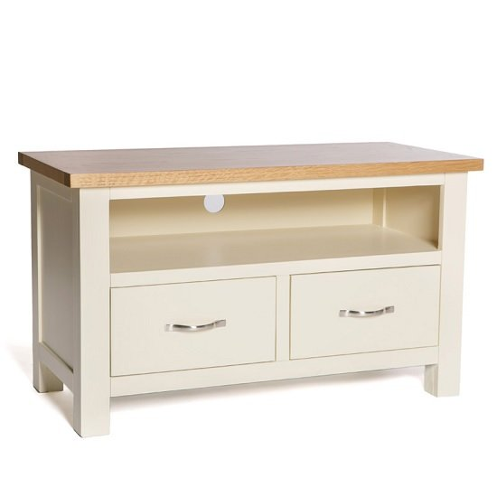 Lexington Wooden TV Stand In Ivory With 2 Drawers