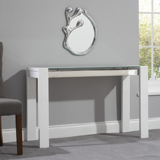 Lexus Glass Console Table Rectangular In High Gloss White