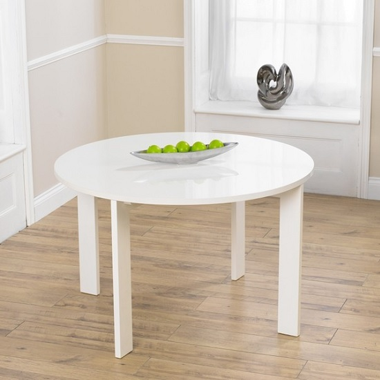 Lexus High Gloss Dining Table Round In White