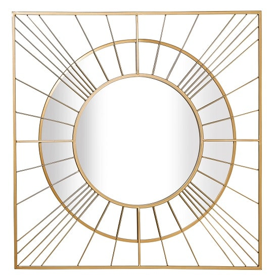 Leyburn Square Wall Mirror In Gold