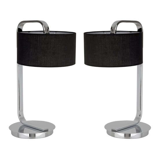 Leylow Black Fabric Shade And Chrome Base Table Lamps In Pair