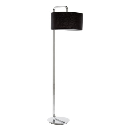 Leylow Black Fabric Shade Flood Lamp With Chrome Base