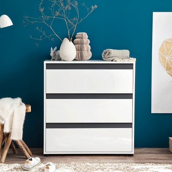 Leyton Chest Of Drawers In White High Gloss Fronts And Grey