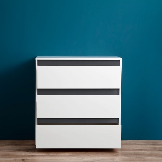Leyton Chest Of Drawers In White High Gloss Fronts And Grey_2