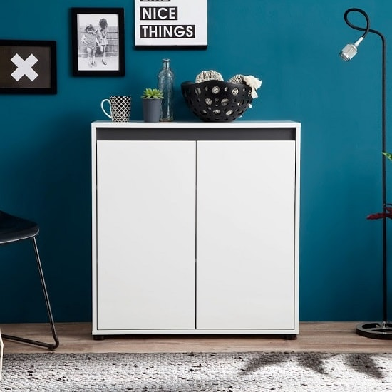 Leyton Compact Sideboard In White High Gloss Fronts And Grey_1