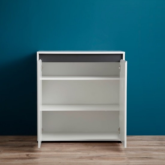Leyton Compact Sideboard In White High Gloss Fronts And Grey_2