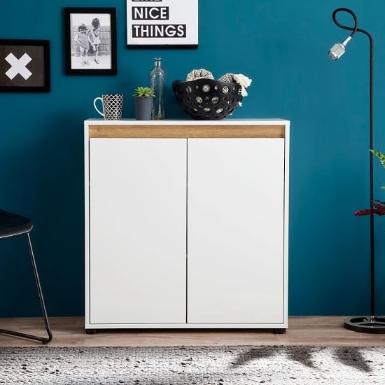 Leyton Compact Sideboard In White High Gloss Fronts And Grey_4
