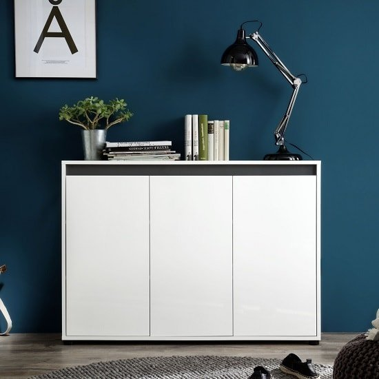 Leyton Modern Sideboard In White With High Gloss Front And Grey
