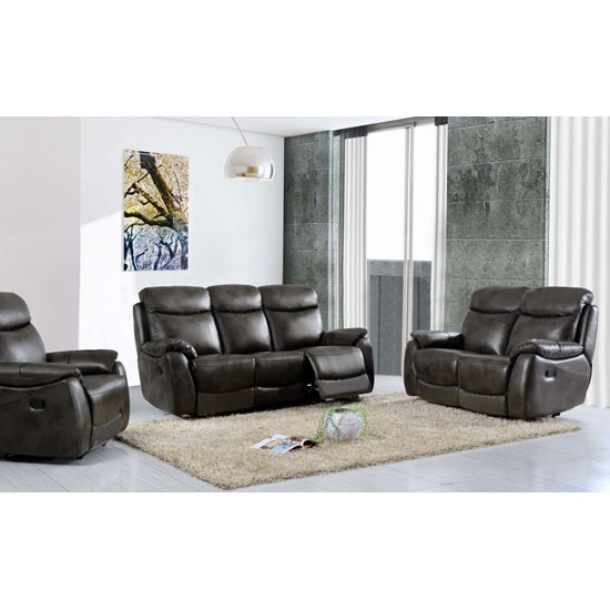 Leyton Power 3 Seater Sofa And 2 Armchair Suite In Two Tone Grey