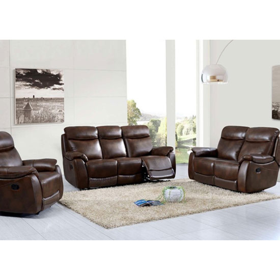 Leyton Power 3 Seater Sofa And 2 Armchairs Suite In Tan_1