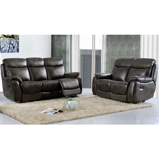 Leyton Power Leather 3 And 2 Seater Sofa Suite In Two Tone Grey_1