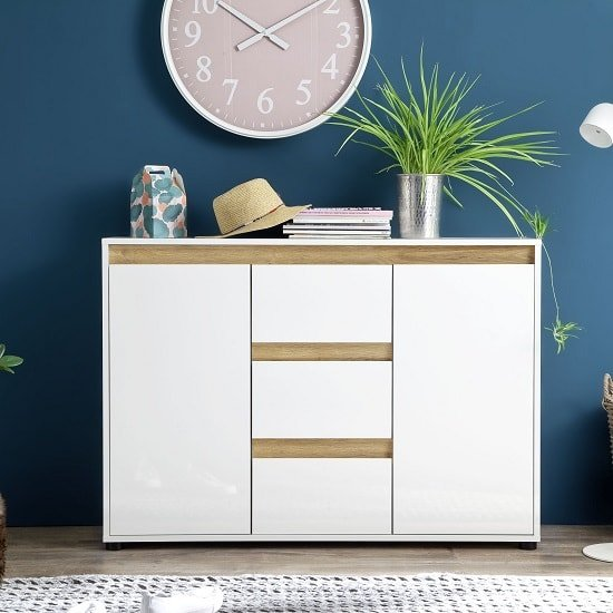Leyton Sideboard In White With High Gloss Fronts And Oak_1