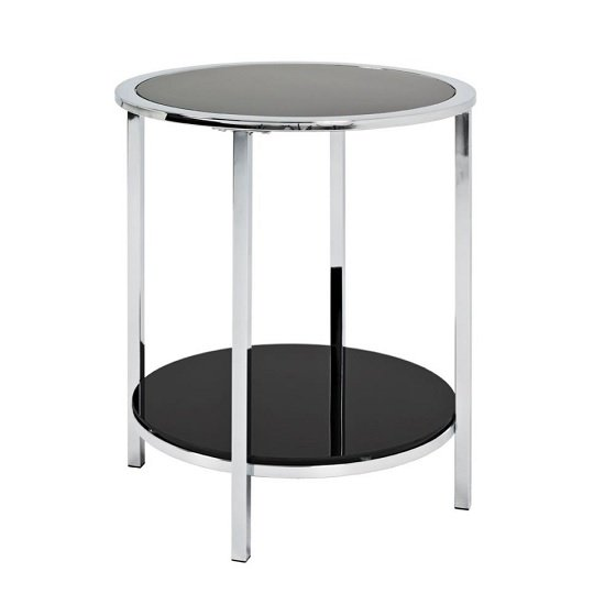 Liam Glass End Table Round In Black With Chrome Frame