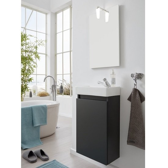 Liano Bathroom Furniture Set In Grey With Basin And LED