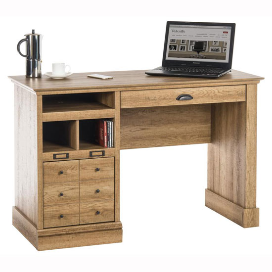 Liatrop Home Office Computer Desk In Scribed Oak