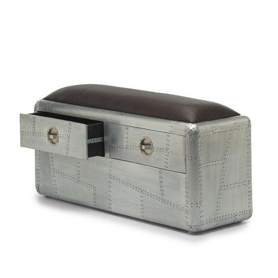 Libero Metal Bench In Brushed Steel And Faux Leather Seat_2