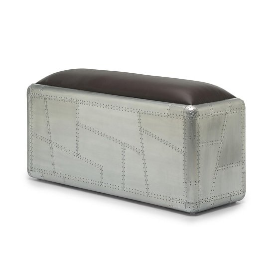 Libero Metal Bench In Brushed Steel And Faux Leather Seat_3