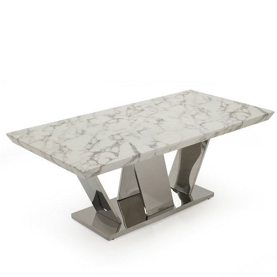 Libero Marble Coffee Table Rectangular In White And Chrome Base