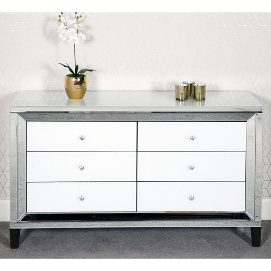Liberty Chest Of Drawers In Silver And White Gloss With 6 Drawer