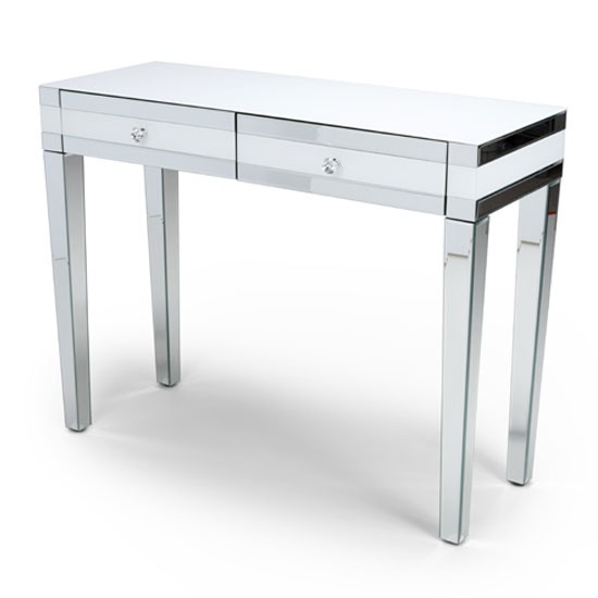Liberty Mirrored Dressing Table In Silver And White Gloss