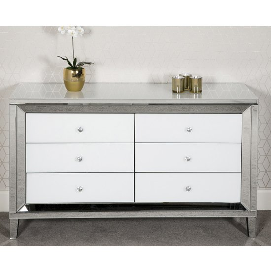 Liberty Mirrored Large Chest Of Drawers In White High Gloss