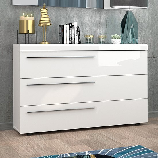 Lice White High Gloss Finish 3 Drawers Chest of Drawers With LED