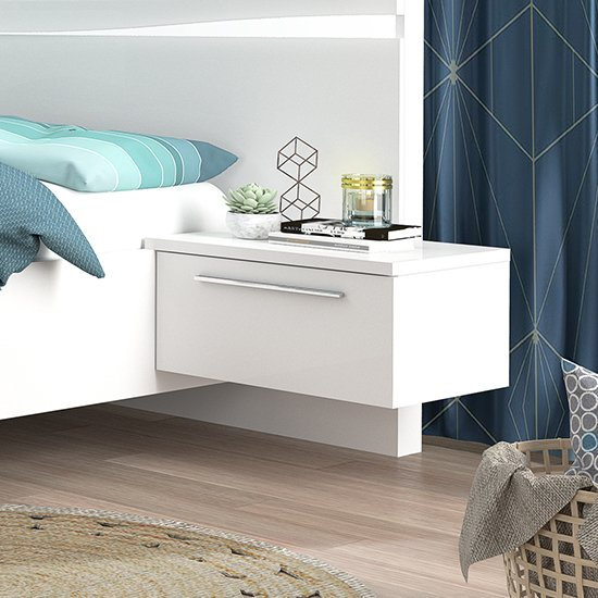 Lice White High Gloss Finish Right Bedside Table With LED Light