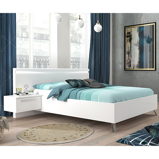 Lice Contemporary White Gloss Super King Size Bed With LED