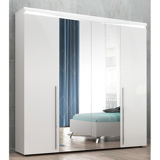 Lice White Gloss 4 Door Wardrobe With 2 Mirror And LED Light