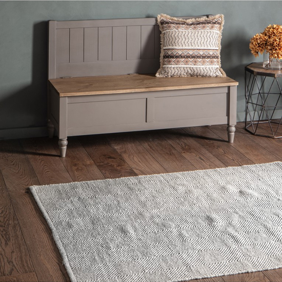 Licosta Cotton And Wool Fabric Rug In Grey