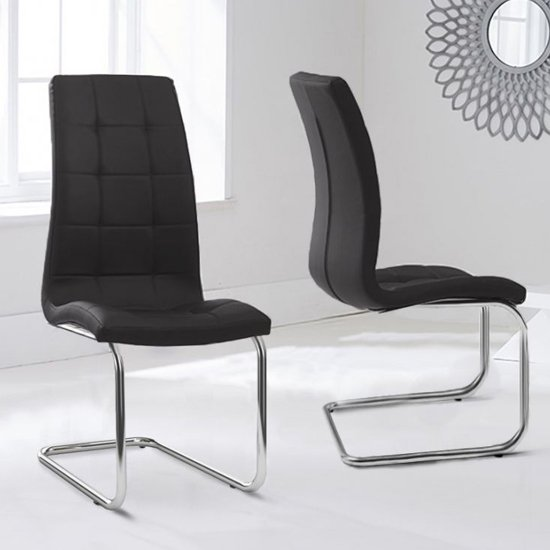Liesma PP Black Dining Chairs With Hoop Leg In Pair