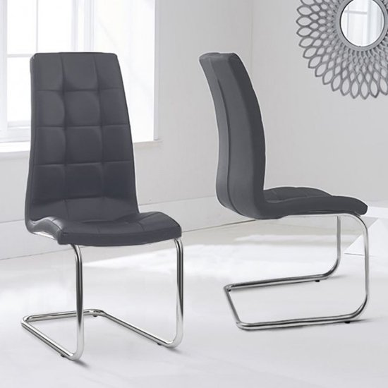 Liesma PP Grey Dining Chairs In Pair With Hoop Leg