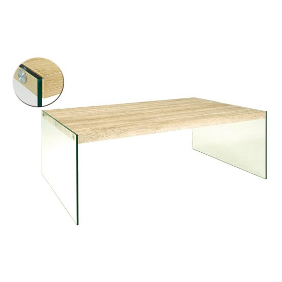 Olymp Coffee Table In Light Oak Top With Glass Legs