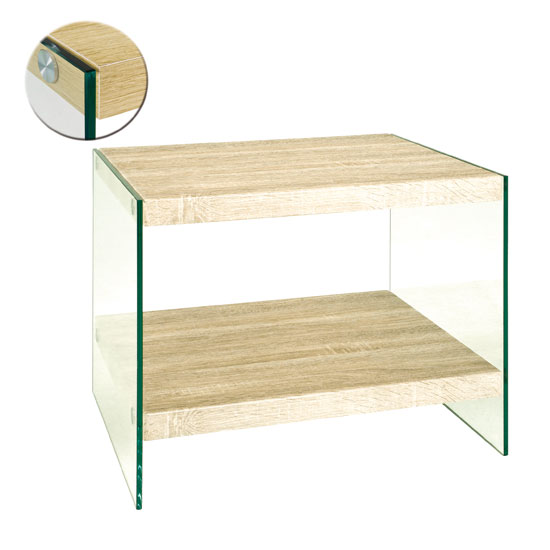 Olymp Light Oak Side Table With Glass Legs And Undershelf