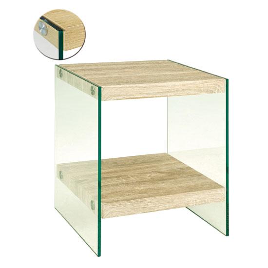 olymp light oak end table with bent glass legs 18726. Black Bedroom Furniture Sets. Home Design Ideas