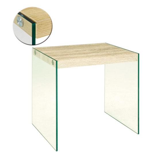 olymp light oak side table with glass legs 18728 furniture. Black Bedroom Furniture Sets. Home Design Ideas