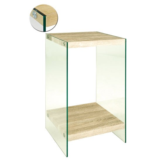 Superior Olymp Light Oak Telephone Table With Glass Legs And Undershelf