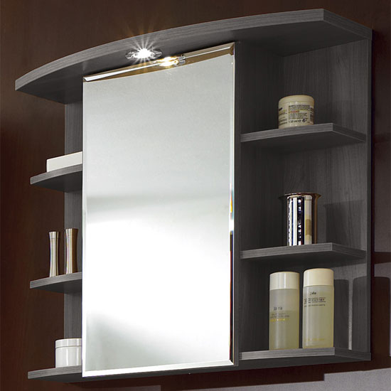 Madrid1 bathroom wall cabinet in plumtree and white with 1 - Bathroom storage mirrored cabinet ...