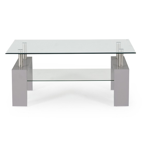 Lilia Tempered Glass Coffee Table With Grey Finish Legs