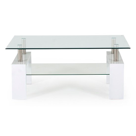Lilia Tempered Glass Coffee Table With White Finish Legs