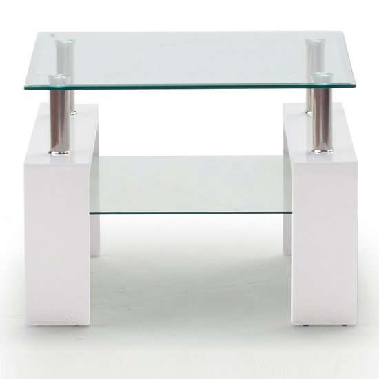 Lilia Tempered Glass Lamp Table With White Finish Legs