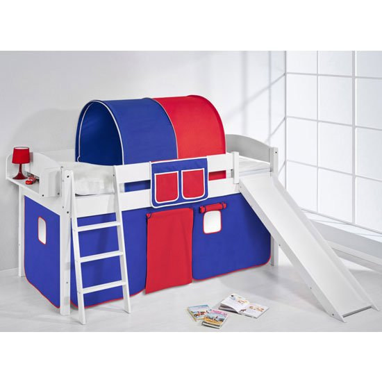 Lilla Slide Children Bed In White With Blue Red Curtains