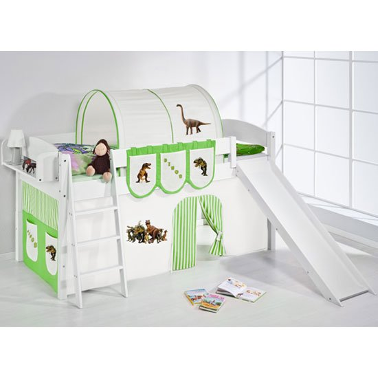 Lilla Slide Children Bed In White With Dinosaur Green Curtains