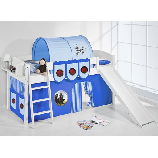 Lilla Slide Children Bed In White With Dragons Blue Curtains