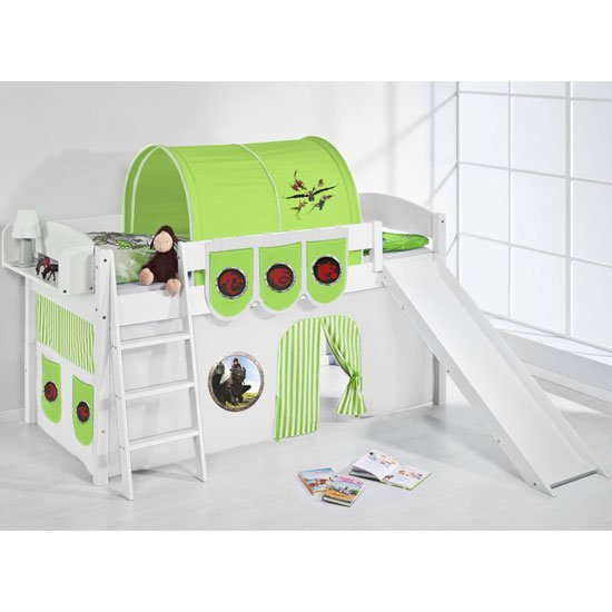 Lilla Slide Children Bed In White With Dragons Green Curtains