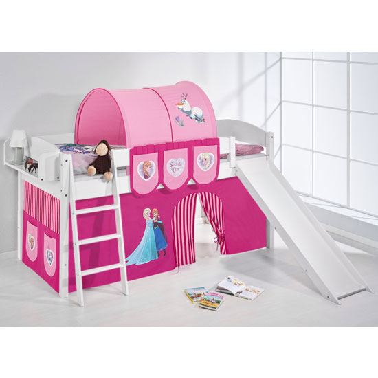 Lilla Slide Children Bed In White With Frozen Pink Curtains