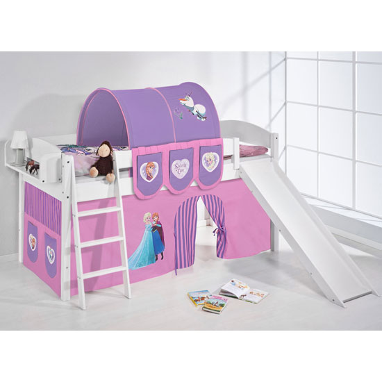 Lilla Slide Children Bed In White With Frozen Purple Curtains