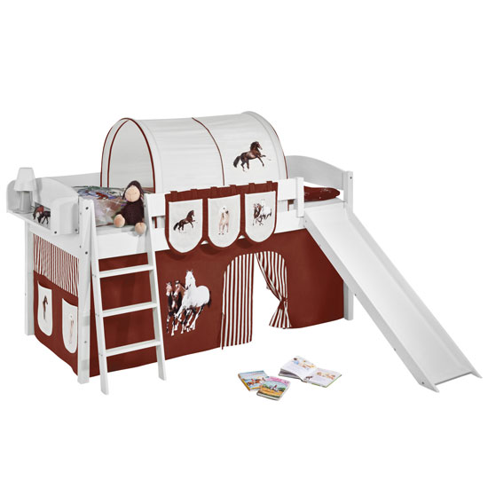 Lilla Slide Children Bed In White With Horses Brown Curtains_2
